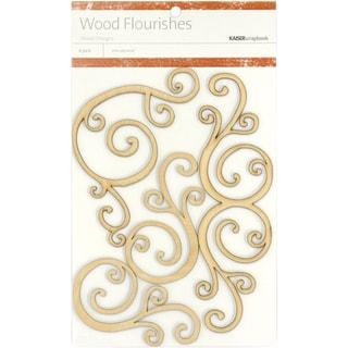 Wood Flourishes 4/Pkg-Curls