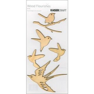 Wood Flourishes 5/Pkg-Birds