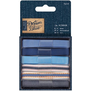 Papermania Denim Blue Ribbon 1m 6/Pkg-Denim Blue