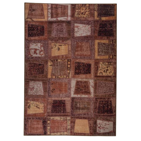 Handmade Burs Brown Vintage Print Rug (India)