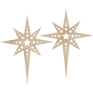 Wood Flourishes 2/Pkg-Christmas Star