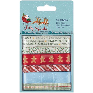 Papermania Jolly Santa Ribbon 1m 6/Pkg