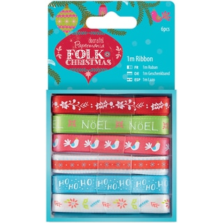 Papermania Folk Christmas Ribbon 1m 6/Pkg