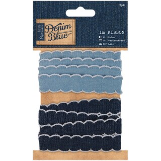 Papermania Denim Blue Ribbon 1m 2/Pkg-Denim
