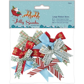 Papermania Jolly Santa Large Ribbon Bows 12/Pkg