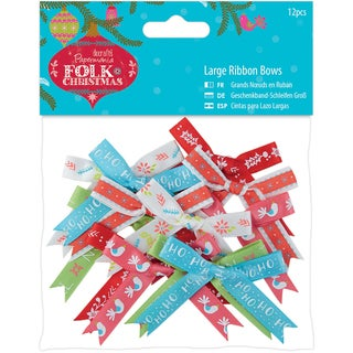 Papermania Folk Christmas Large Ribbon Bows 12/Pkg