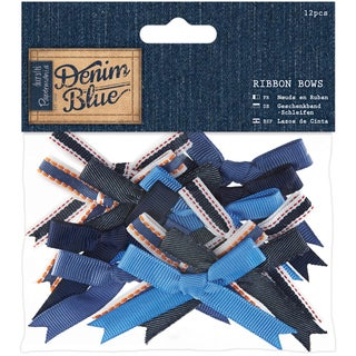 Papermania Denim Blue Ribbon Bows 12/Pkg