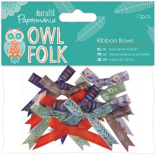 Papermania Owl Folk Ribbon Bows 12/Pkg
