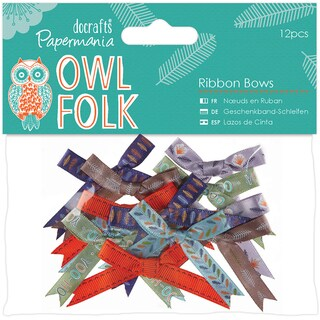 Papermania Owl Folk Ribbon Bows 12/Pkg