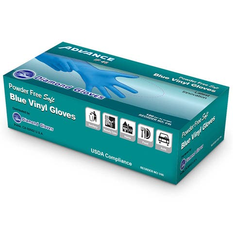 Diamond Gloves 1000-piece Advance Blue Vinyl Powder Free Disposable Gloves (Pack of 10)