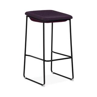 Modello Black Modern Barstool with Dark Purple Fabric Padded Seat (Set of 2)