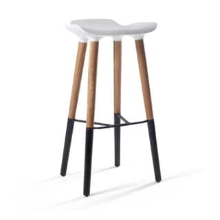 Pluto Danish Modern Barstool with White Seat