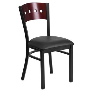 HERCULES Series Black Decorative 4 Square Back Metal Restaurant Chair - Mahogany Wood Back, Black Vinyl Seat