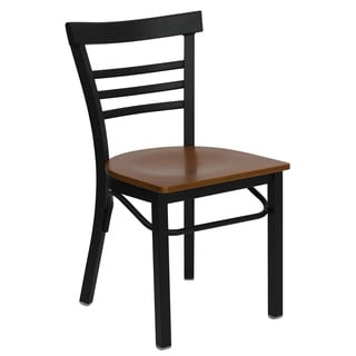 HERCULES Series Ladder Back Metal Restaurant Chair - Wood Seat