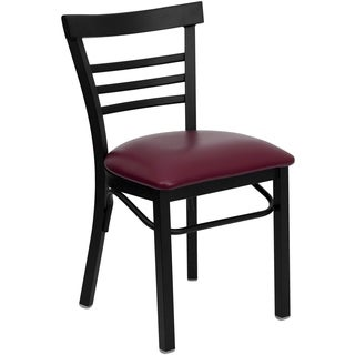 HERCULES Series Ladder Back Metal Restaurant Chair - Vinyl Seat