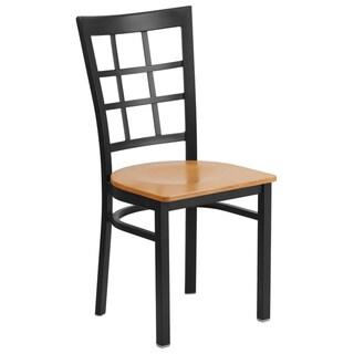 HERCULES Series Window Back Metal Restaurant Chair - Wood Seat