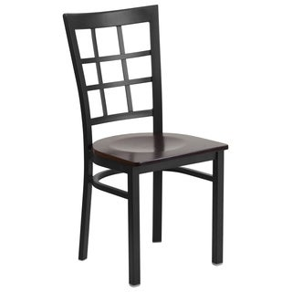 HERCULES Series Window Back Metal Restaurant Chair - Wood Seat