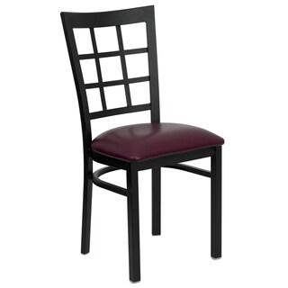 HERCULES Series Window Back Metal Restaurant Chair - Vinyl Seat