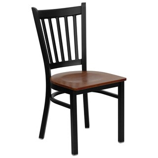 HERCULES Series Vertical Back Metal Restaurant Chair - Wood Seat