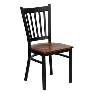HERCULES Series Vertical Back Metal Restaurant Chair - Wood Seat