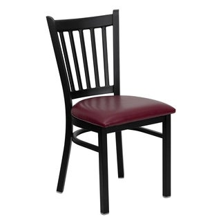 HERCULES Series Vertical Back Metal Restaurant Chair - Vinyl Seat