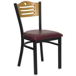 HERCULES Series Slat Back Metal Restaurant Chair - Natural Wood Back, Vinyl Seat