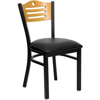 HERCULES Series Slat Back Metal Restaurant Chair - Natural Wood Back, Vinyl Seat