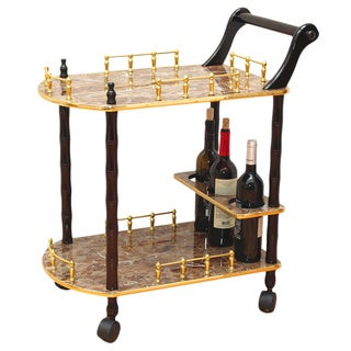 Two-Tier Serving Tea Cart with Gold Marble Finish