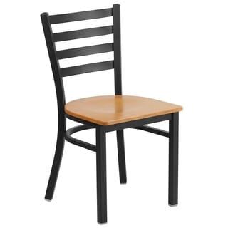 HERCULES Series Ladder Back Metal Restaurant Chair - Wood Seat