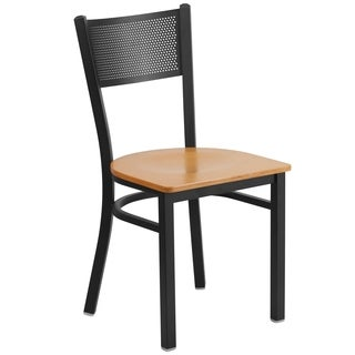 HERCULES Series Grid Back Metal Restaurant Chair - Wood Seat