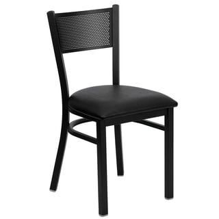 HERCULES Series Grid Back Metal Restaurant Chair - Vinyl Seat