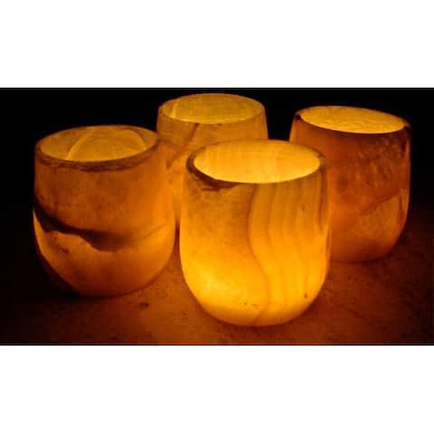 Alabaster Pear Candle Votive Set (Egypt)