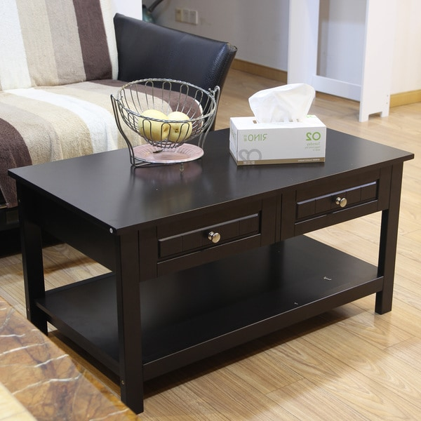 Build Coffee Table With Drawers: Shop Adeco Double Drawer Tea Coffee End Table