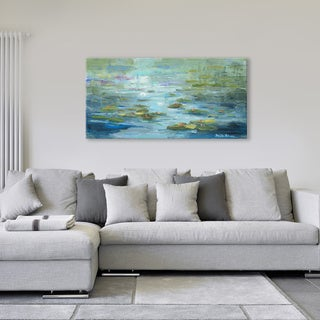 Dana McMillan 'Lilies in Green' Canvas Wall Art (24 x 48)