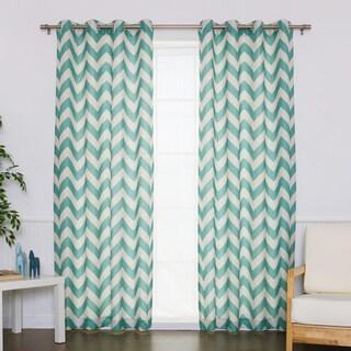 Aurora Home Chevron Print Flax Linen Blend Grommet Top Curtain Panel (Set of 2)