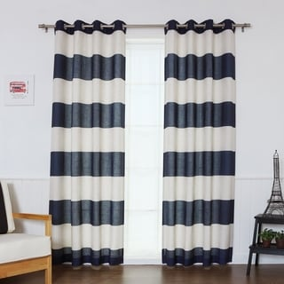 Aurora Home Cabana Stripe Flex Linen Blend Grommet Top Curtain Panel (Set of 2)