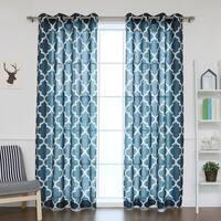 Aurora Home Moroccan Print Flax Linen Blend Grommet Top Curtain Pair