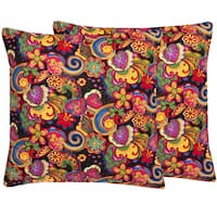 Black Floral Paisley 18-inch Throw Pillows (Set of 2)