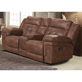 Global Furniture Blanche Walnut Reclining Console Loveseat