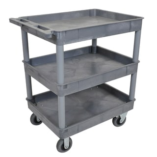 Luxor TC111SP6-G Grey 24 inch x 32 inch 3 Tub Cart W/ 6 inch Semi-Pneumatic Casters