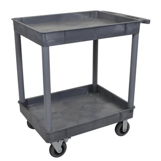 Luxor TC11SP6-G Grey 24 inch x 32 inch 2 Tub Cart W/ 6 inch Semi-Pneumatic Casters