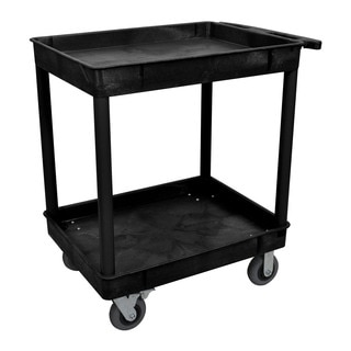Luxor TC11SP6-B Black 24 inches x 32 inches 2 Tub Cart W/ 6 inch Semi-Pneumatic Casters