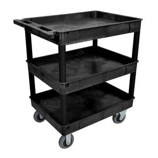 Luxor TC111SP6-B Black 24x32 Three Tub Cart with 6 inch Semi-Pneumatic Casters