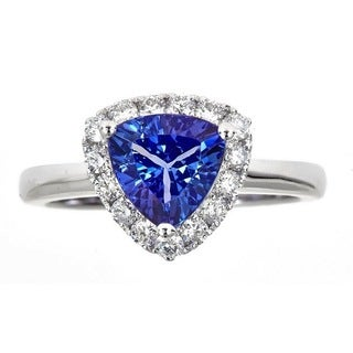 Anika and August 18K White Gold Trillion-cut Tanzanite and 5/11ct TDW Diamond Ring ( G-H, I1-I2)