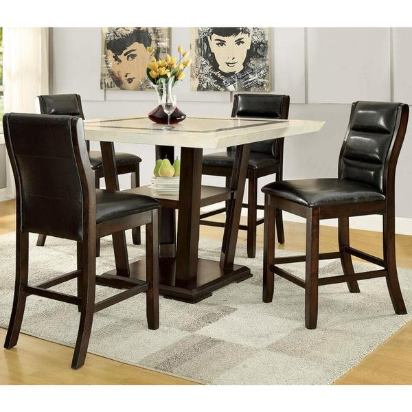 shop basilique paris design counter height dining set with marble like top free shipping today. Black Bedroom Furniture Sets. Home Design Ideas
