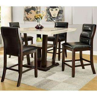 Basilique Paris Design Counter Height Dining Set with Marble-like Top