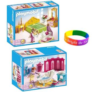 Playmobil Princess Royal Bath Chamber/ Royal Bed Chamber with Cradle/ Dimple Bracelet
