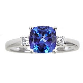 Anika and August 14K White Gold Cushion Cut Tanzanite and 1/6ct TDW Diamond Ring  (G-H, I1-I2)
