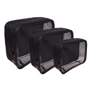 SHANY 3-piece Black Mesh Organizer Cosmetics Travel Bag Set
