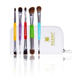 SHANY THE DOUBLE TROUBLE - 5 PC Double Sided Essential Brush Set W/Travel Pouch - MULTI-COLORED